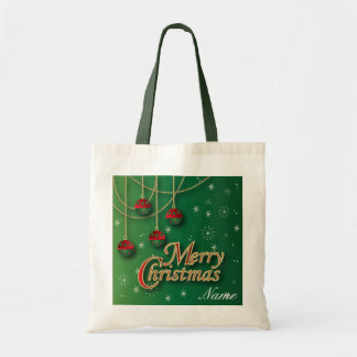 Bright Green Merry Christmas Tote Bags