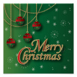 Bright Green Merry Christmas Poster