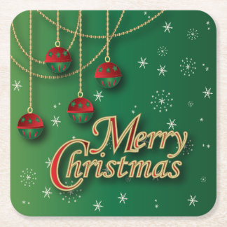 Bright Green Merry Christmas Square Paper Coaster