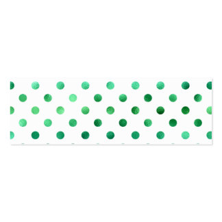 Bright Green Metallic Faux Foil Polka Dot White Double-Sided Mini Business Cards (Pack Of 20)