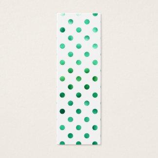 Bright Green Metallic Faux Foil Polka Dot White Mini Business Card