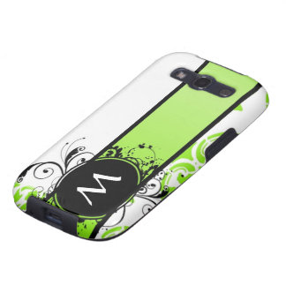 Bright green monogrammed samsung galaxy SIII covers