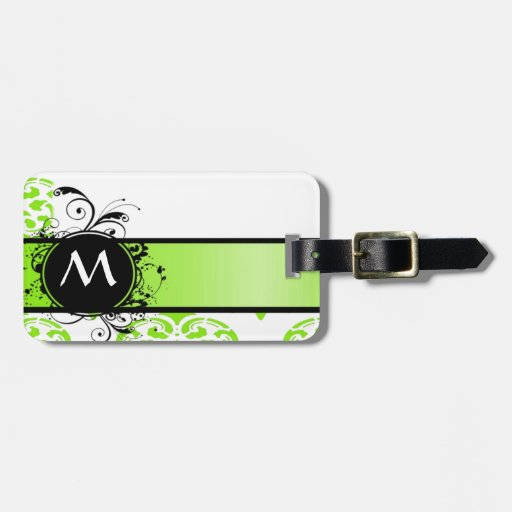 Bright green monogrammed bag tags
