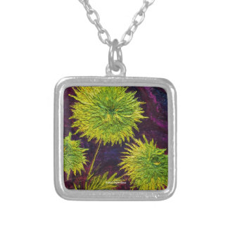 Bright Green Mums Art Necklace