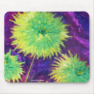 Bright Green Mums Mouse Pad