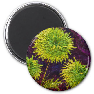 Bright Green Mums Pin Back Button Magnet