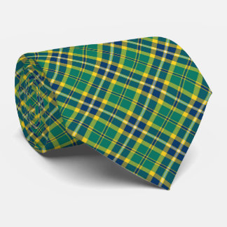 Bright Green, Navy Blue and Yellow Sporty Plaid Tie