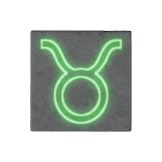 Bright Green Neon - Taurus the Bull Star Sign Stone Magnet