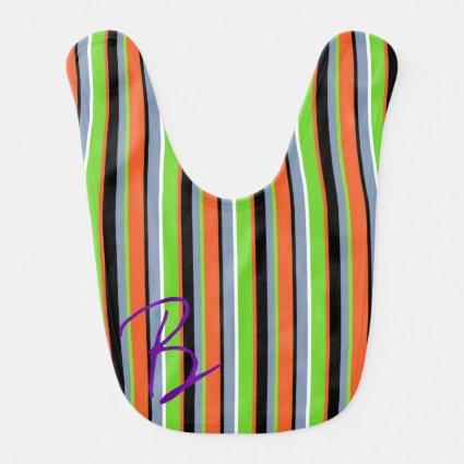 Bright Green, Orange, Blue & Black Stripes Baby Bibs