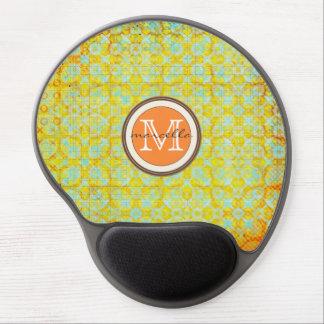 Bright Green Orange Pattern Monogram Gel Mouse Pad