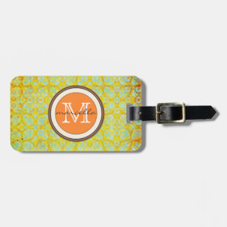 Bright Green Orange Pattern Monogram Tags For Bags