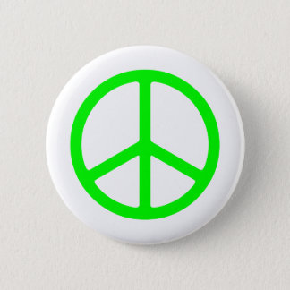 Bright Green Peace Sign Button