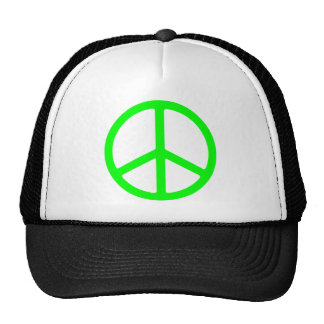Bright Green Peace Sign Hat