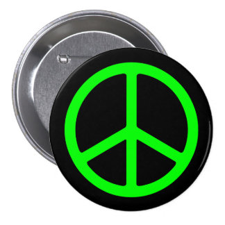 Bright Green Peace Sign on Black Pinback Buttons
