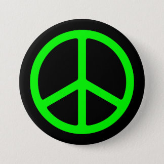 Bright Green Peace Sign on Black Pinback Pinback Button