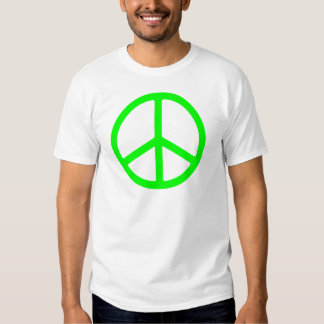 Bright Green Peace Sign T Shirt