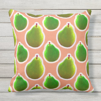 Bright Green Pears Throw Pillow