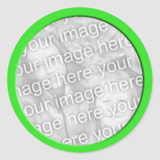 bright green photo frame classic round sticker