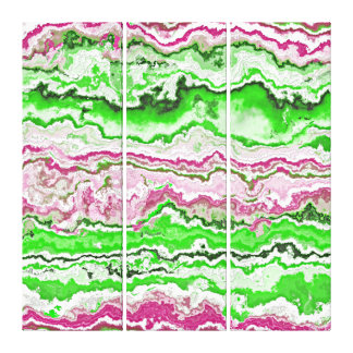 Bright Green Pink White Mineral Agate Pattern Canvas Print