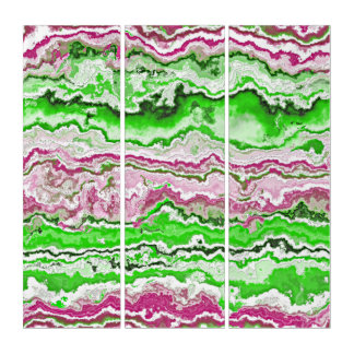 Bright Green Pink White Mineral Agate Pattern Triptych