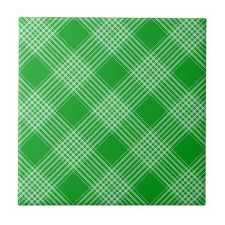 Bright Green Plaid Ceramic Tile