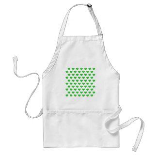 Bright Green Polka Dot Hearts Adult Apron