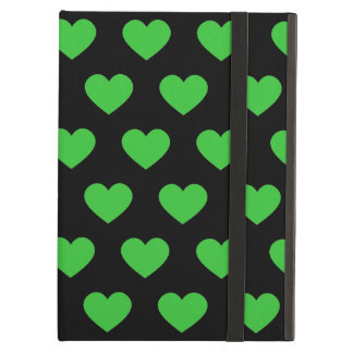 Bright Green Polka Dot Hearts (Black Background) iPad Air Cases