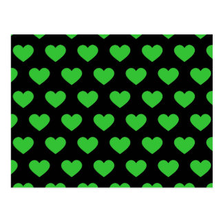 Bright Green Polka Dot Hearts (Black Background) Postcard