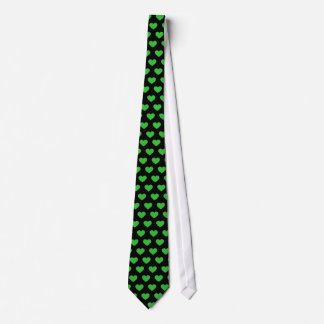 Bright Green Polka Dot Hearts (Black Background) Tie