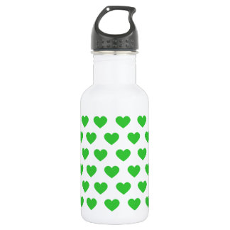Bright Green Polka Dot Hearts Stainless Steel Water Bottle