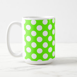 Bright Green Polka Dots Coffee Mug