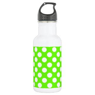 Bright Green Polka Dots 18oz Water Bottle