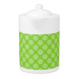 Bright Green Polka Dots Teapot