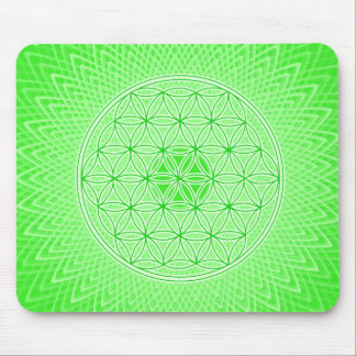 Bright Green Psychedelic Sacred Geometry Mandala Mouse Pad