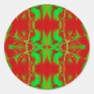 bright green red classic round sticker