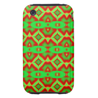 bright green red fractal pattern tough iPhone 3 cover