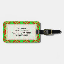 Bright Green Red Holiday Abstract Bag Tag