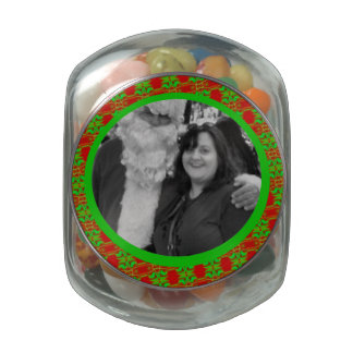 Bright Green Red holiday photo frame Glass Candy Jars
