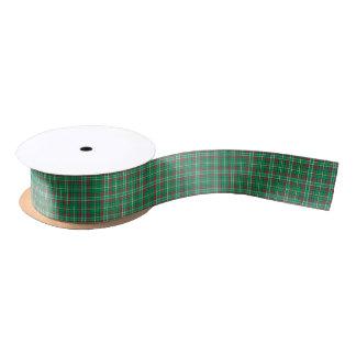 Bright Green Retro Christmas Plaid Satin Ribbon