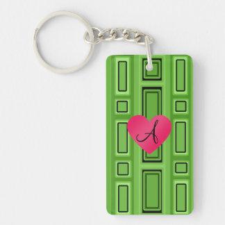 Bright green Retro squares monogram Single-Sided Rectangular Acrylic Keychain