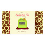 Bright Green Retro Stove Giraffe Chef Caterer Double-Sided Standard Business Cards (Pack Of 100)