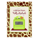 Bright Green Retro Stove & Giraffe Recipe Cards Large Business Cards (Pack Of 100)