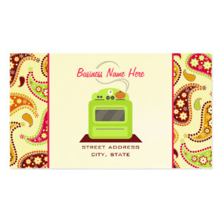 Bright Green Retro Stove Paisley Chef Caterer Double-Sided Standard Business Cards (Pack Of 100)