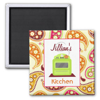 Bright Green Retro Stove & Paisley Kitchen Magnet