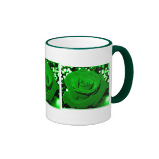 Bright Green Roses Coffee Mugs