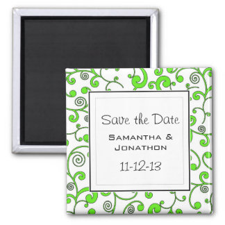 Bright Green Scroll Custom Save the Date Magnet