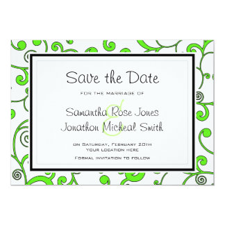 Bright Green Scroll Save the Date Card