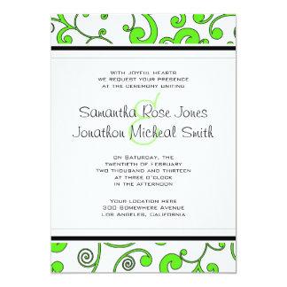 Bright Green Scroll Wedding Invitation