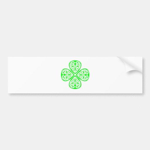 bright green shamrock celtic knot bumper sticker