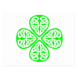 bright green shamrock celtic knot postcard